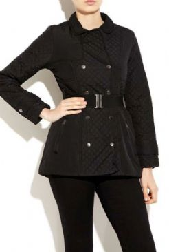 Diamond Quilt Belted Jacket